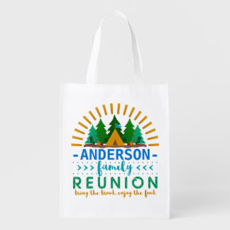 Family Reunion Camping Trip Forest | Custom Name Grocery Bags