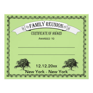 Family Reunion Certificate of Award Personalized Flyer