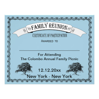 Family Reunion Certificate of Participation Flyers