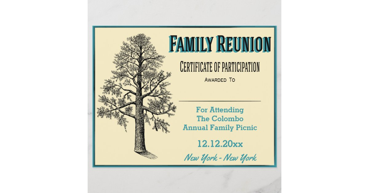 Family Reunion Certificate Tall Family Tree Zazzle