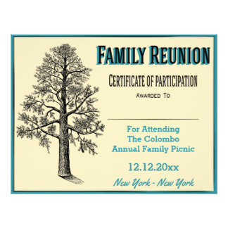 Family Reunion Certificate - Tall Family Tree Flyer