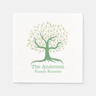Family Reunion Family Tree Elegant Green Disposable Napkin