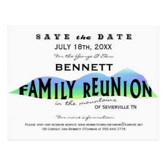 FAMILY REUNION IN THE MOUNTAINS SAVE THE DATE POSTCARD