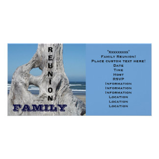 Family Reunion Invitations Ocean beach Blue Waves Photo Card Template