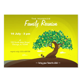 "Family Reunion (Lime) 5"" X 7"" Invitation Card"