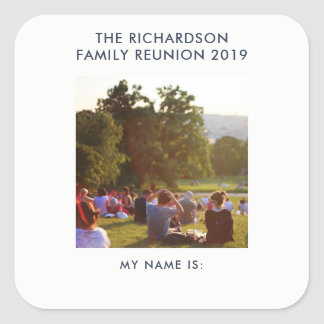 Family Reunion Name Tag with Your Photo or Logo Square Sticker