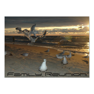 Family Reunion on the Beach Seagull Evening Sunset Card