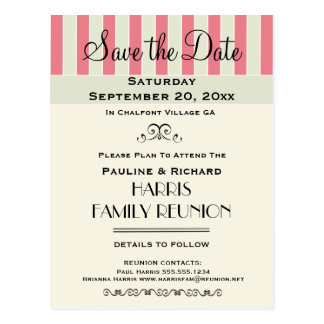 Family Reunion or Party Cream Rose Save the Date Postcard