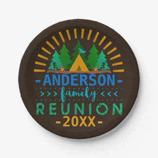 Family Reunion Outdoor Camping Party | Custom Name 7 Inch Paper Plate
