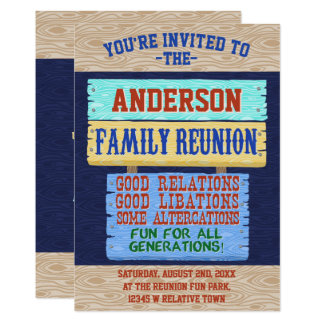Family Reunion Party Funny Wooden Sign | Add Name Card