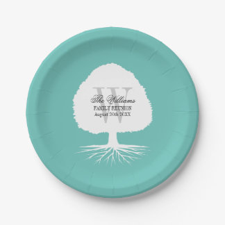 Family reunion party paper plates with monogram