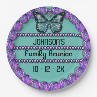 Family Reunion Purple Butterfly and Purple Jewels 9 Inch Paper Plate