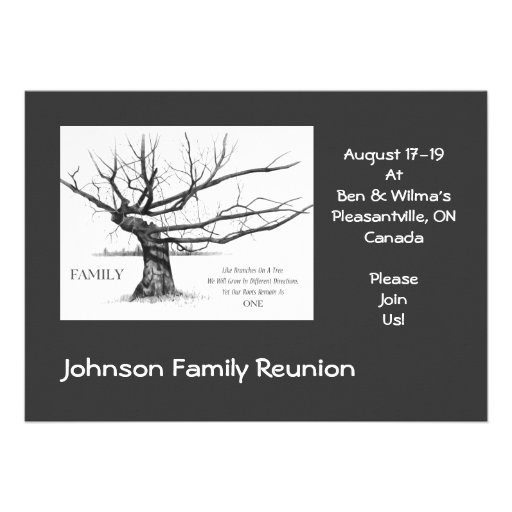 Family Reunion: Quote on Family: Drawing of Tree Announcement