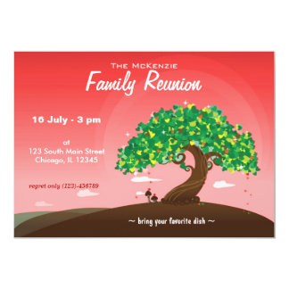 "Family Reunion (Red) 5"" X 7"" Invitation Card"