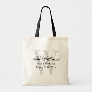 Family reunion tote bags with elegant monogram
