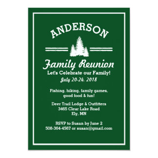 "Family Reunion Trip   Rustic Pine Trees Lake House 5"" X 7"" Invitation Card"