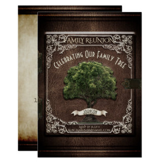 Family Reunion Vintage Book Dark Wood Look Card