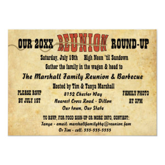 "Family Reunion Vintage Western Theme Invitation 5"" X 7"" Invitation Card"
