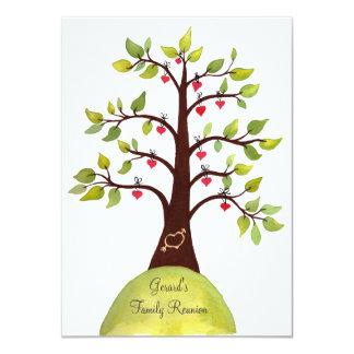 Family Reunion Watercolor Heart Tree Invite