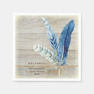 Family Reunion Wood Fence Board w Feather Disposable Napkins