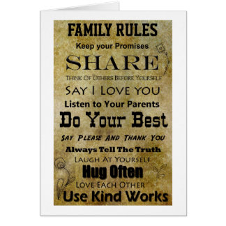 Family Rules Card