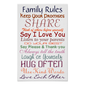 Family Rules for Togetherness Poster
