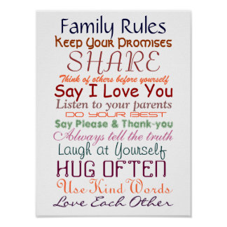 "Family Rules for Togetherness Poster 12""x16"""