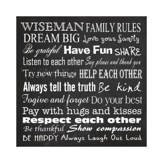 Family Rules Last Name 20x20 Wrapped Canvas