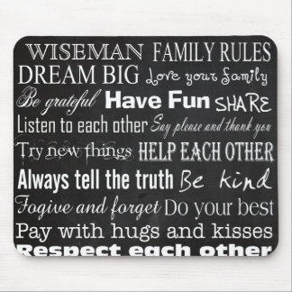 Family Rules Last Name Personalized Cust Mouse Pad