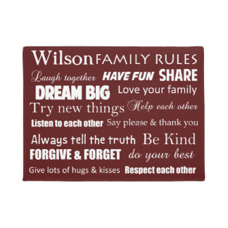 Family Rules Personalized Front Door Mat
