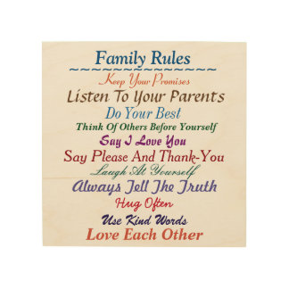 Family Rules Wooden Art Wood Prints