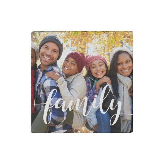 Family Script Overlay Photo Stone Magnets