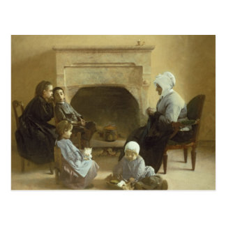 Family seated around a hearth postcard