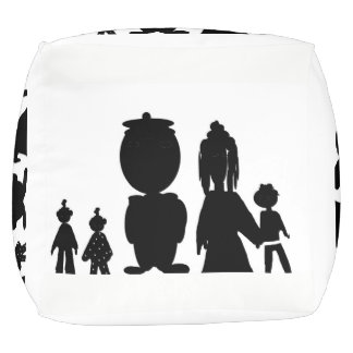 Family silhouette F typography Pouf