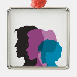 Family Silver-Colored Square Ornament