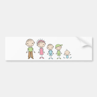 Family Stick Figures Bumper Stickers