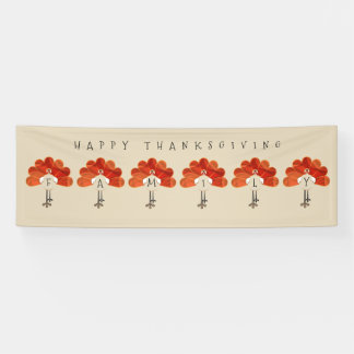 Family Thanksgiving Turkeys Banner