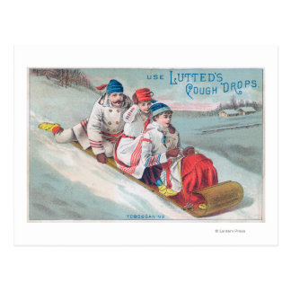 Family Tobogganing and Using Lutted Cough Postcard