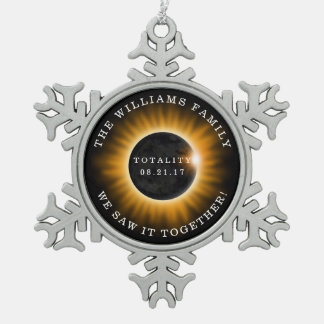 Family Totality Solar Eclipse Add Name Snowflake Pewter Christmas Ornament