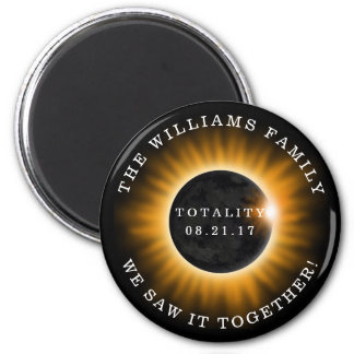 Family Totality Solar Eclipse Personalized Magnet