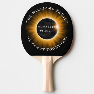 Family Totality Solar Eclipse Personalized Ping Pong Paddle