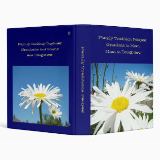 Family Traditions Recipes! White Daisy Flowers Binder