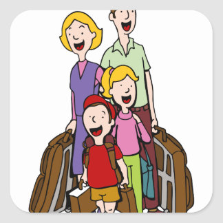 Family Travel Square Sticker