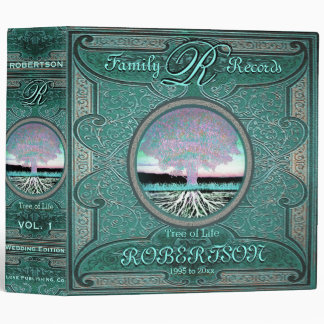 Family Tree | Antique Vintage Green Foil Look Binder