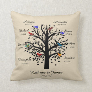 Family Tree, Black Tree on Ecru, 8 Names & Dates Throw Pillow