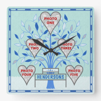 Family Tree Custom 5 Photo Collage Winter Frost Square Wall Clock