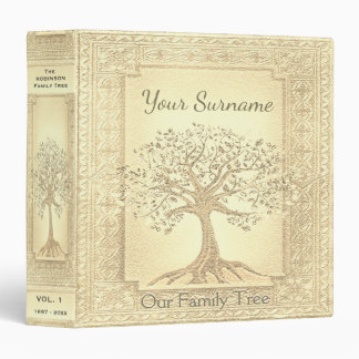 Family Tree Genealogy Album Gold 3 Ring Binders