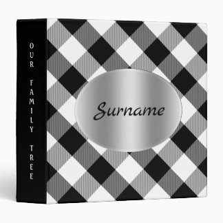 Family Tree Genealogy Custom Black and White Plaid Binders
