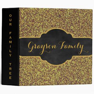 Family Tree Genealogy Name | Faux Gold Glitter Vinyl Binder