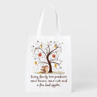 Family Tree Humor Reusable Grocery Bags